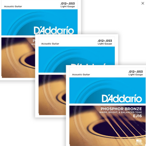 D'Addario EJ16 Phosphor Bronze, Light, 12-53, Acoustic Strings (3-Pack)