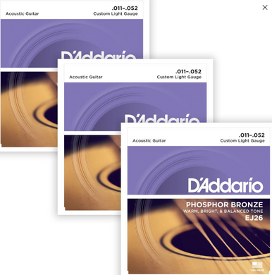 D'Addario EJ26 Phosphor Bronze Custom Light, 11-52, Acoustic Strings (3-Pack)