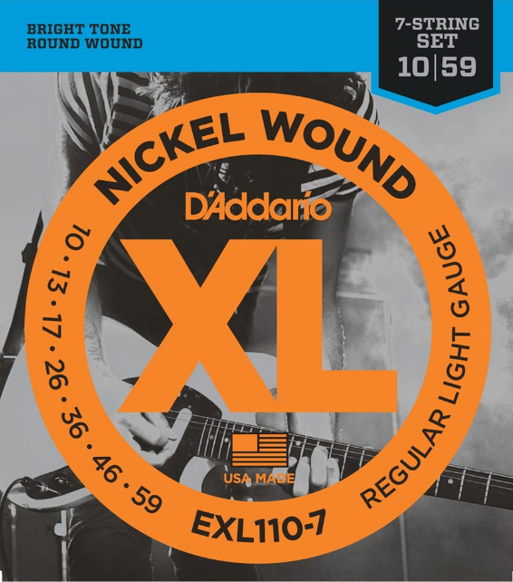 D'Addario EXL110-7 Nickel Wound, 7 String, Regular Light 10-59 Electric Guitar Strings