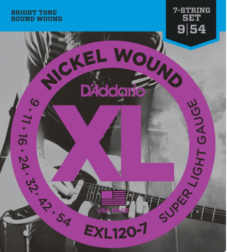 D'ADDARIO EXL120-7 Nickel Wound 7-STRING Electric Guitar Strings, Super Light 9-54