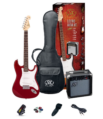 SX SE1SK Beginners Electric Guitar Pack Candy Apple Red