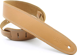 DSL 2.5 Inch Single Ply Tan-Beige Stitch Leather Guitar Strap