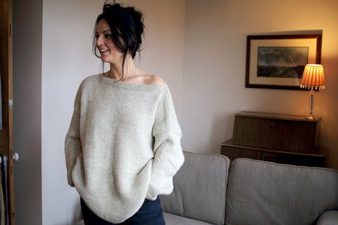 Clem sweater in Dovestone Natural Chunky - part of the Learn to Knit at Home collection from baa ram ewe