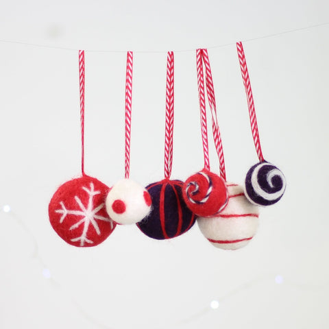 Christmas Baubles Needle Felting Kit Close Up