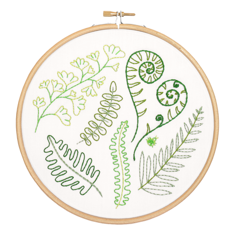 Forest Ferns Embroidery Kit close up