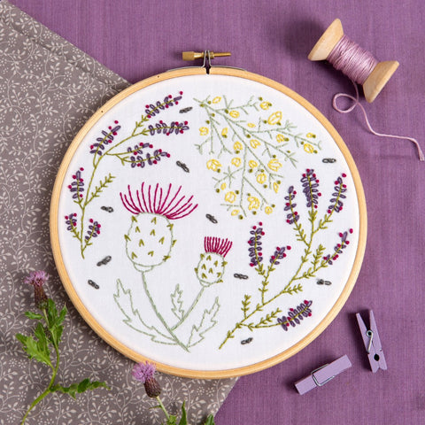 Highland Heathers Embroidery Kit lifestyle