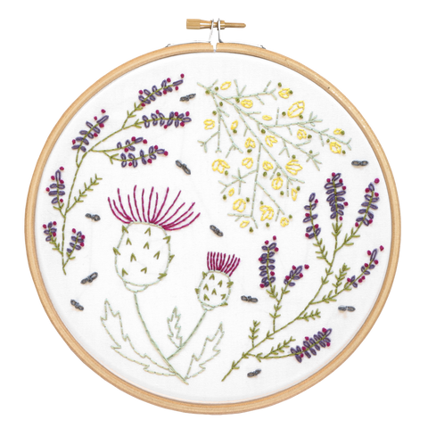 Highland Heathers Embroidery close up