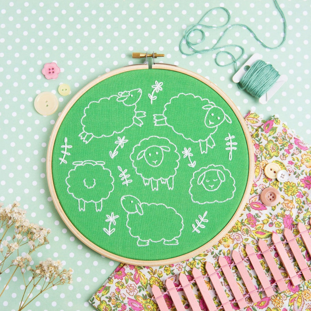 Leaping Lambs embroidery kit