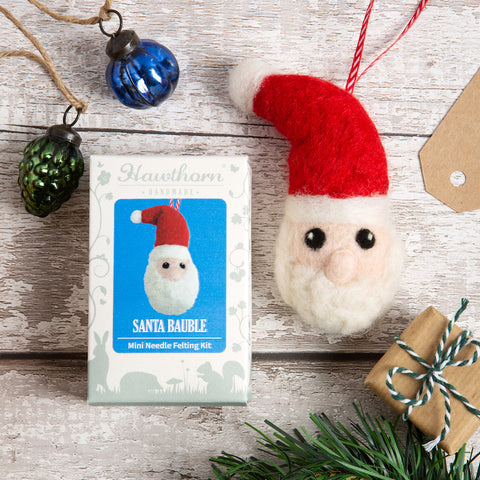 Santa Bauble needle felting kit lifestyle image