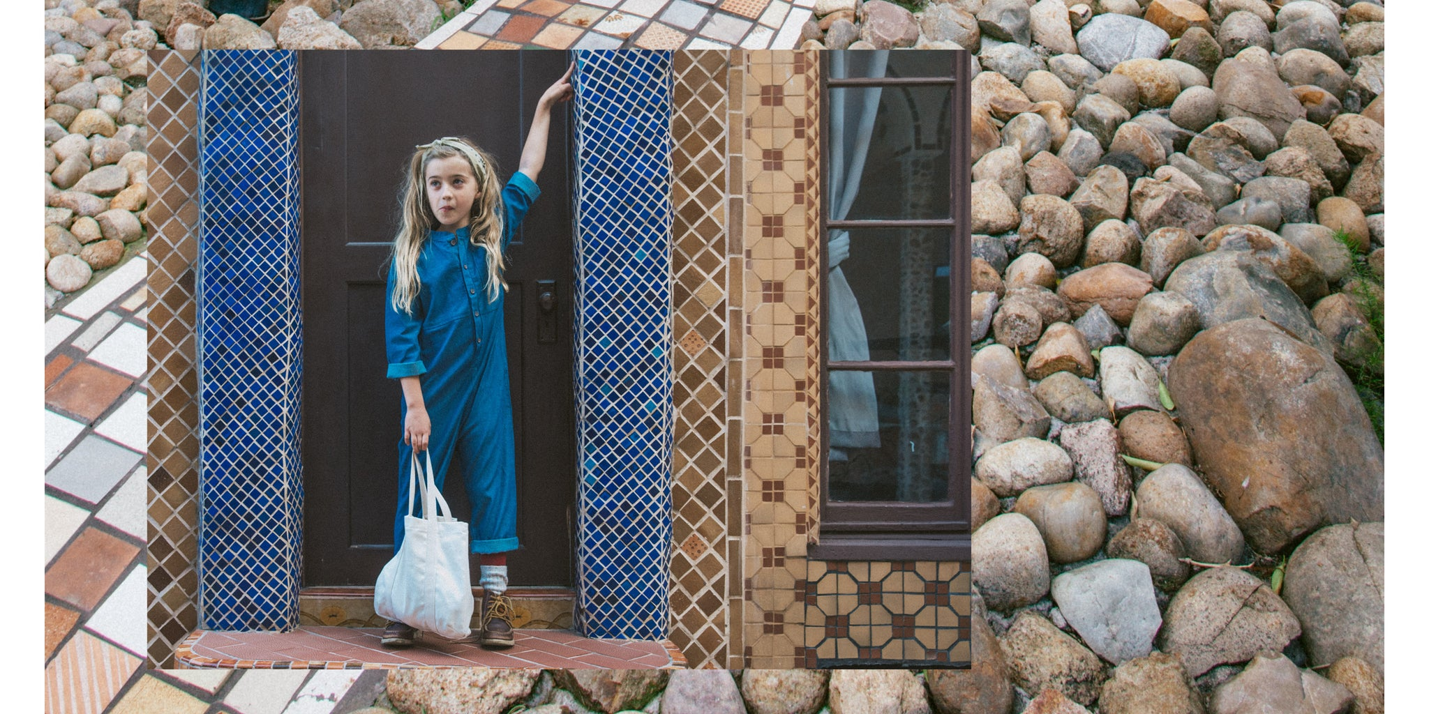 Chambray Blue Kids Jumpsuit made in LA