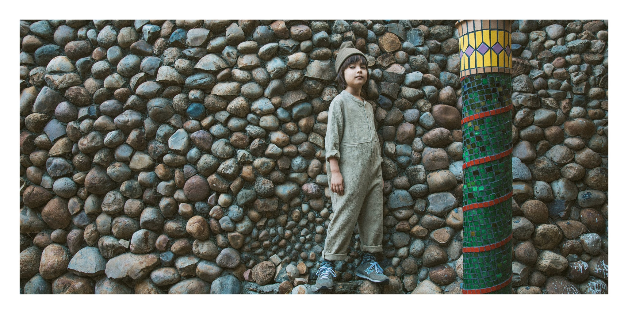 Boy Wearing Flax Quilted Jumpsuit
