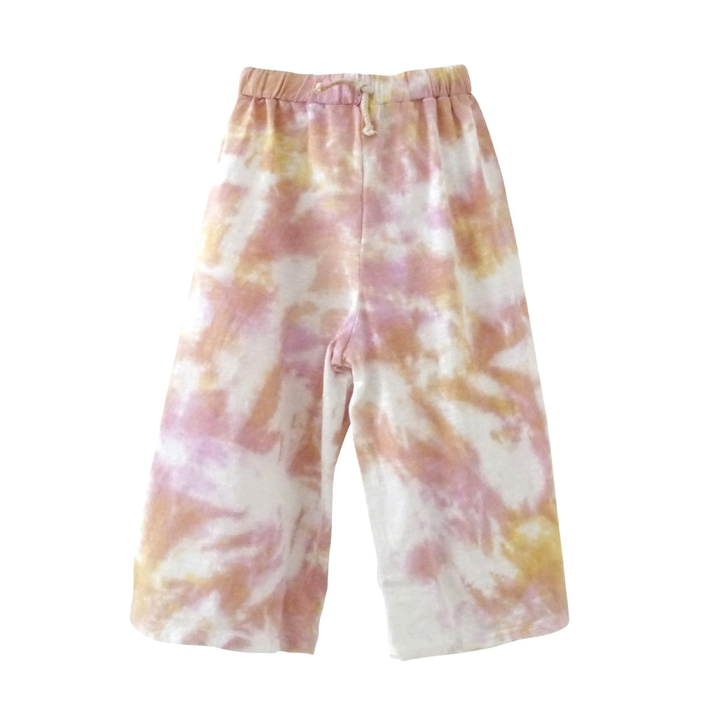 Kid's Tie Dye Wide Leg Pants Pink and Yellow