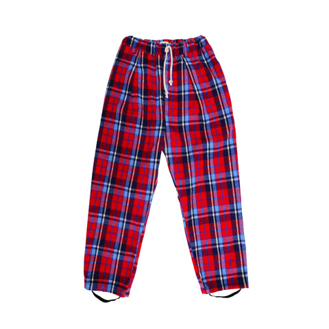 Clash Plaid Stirr-up Pleated Trouser