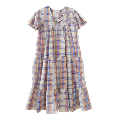 Isabelle Tiered Dress Cream Plaid