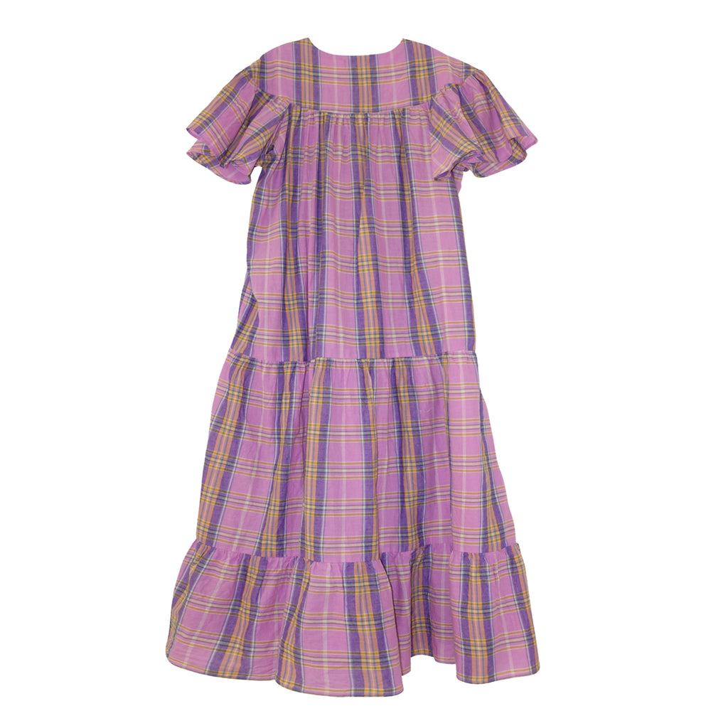 Isabelle Tiered Dress Orchid Plaid
