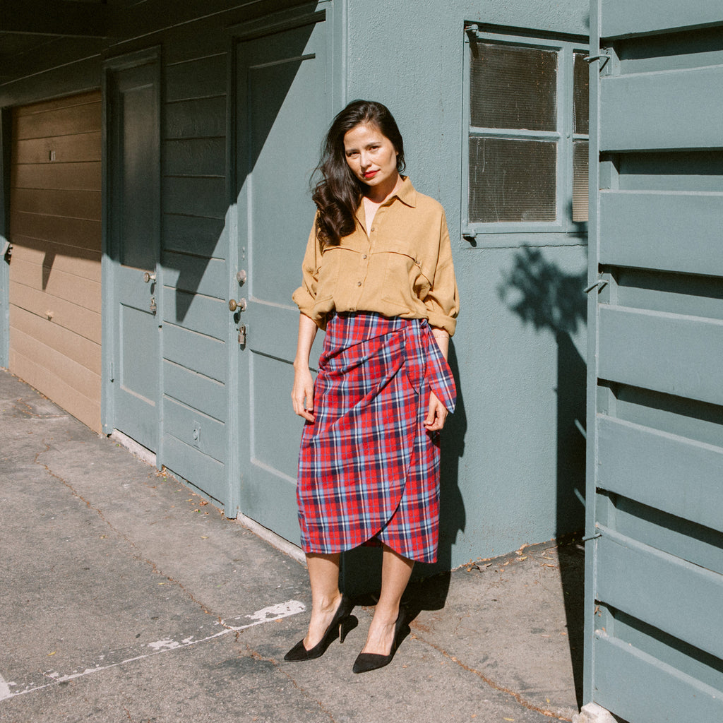Lauper Plaid Wrap Skirt