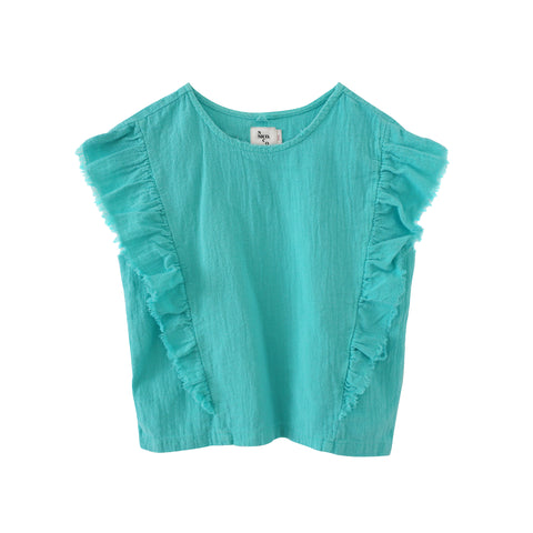 McKinley Chevron Ruffle Top - Solid