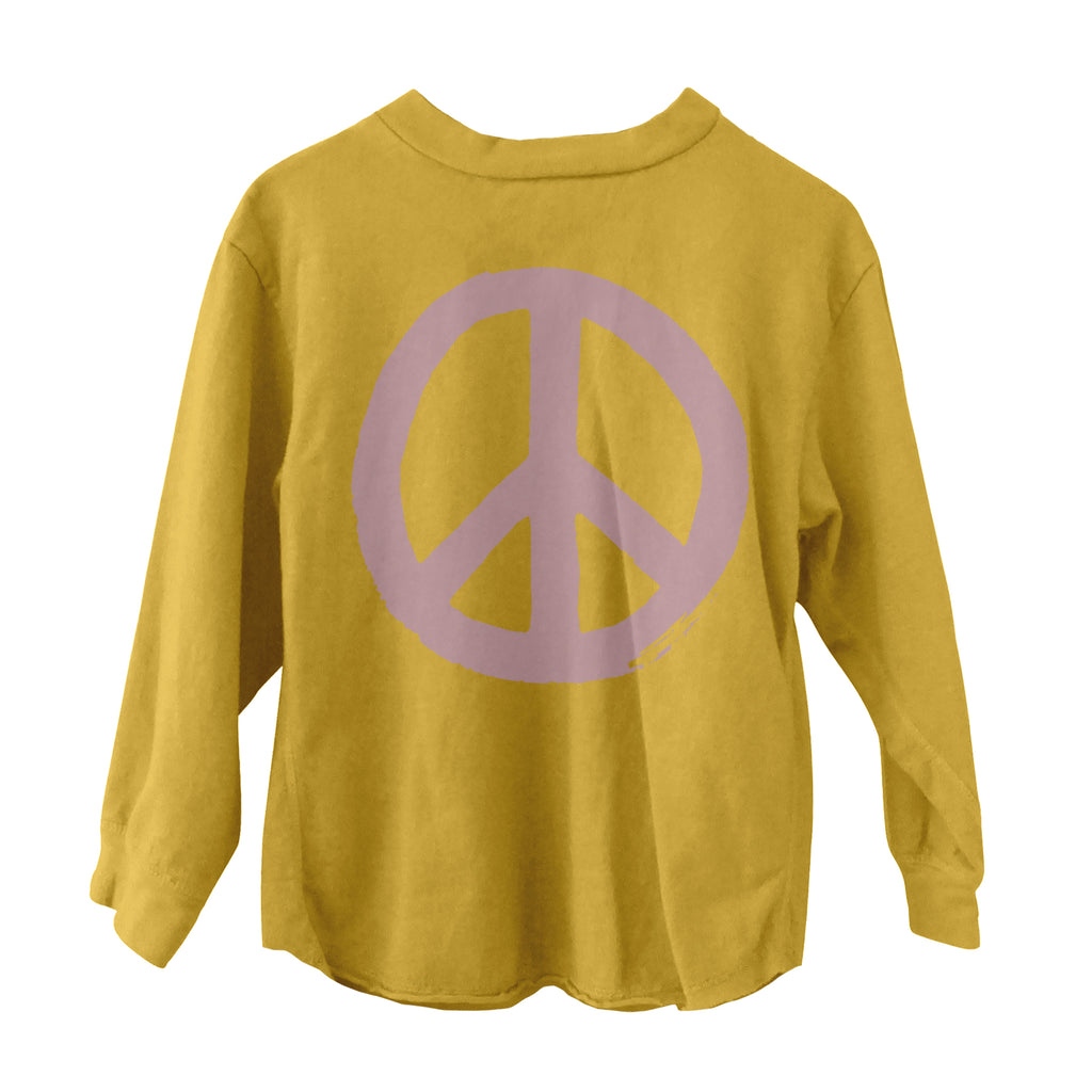 Peace Long Sleeve Tee Gold