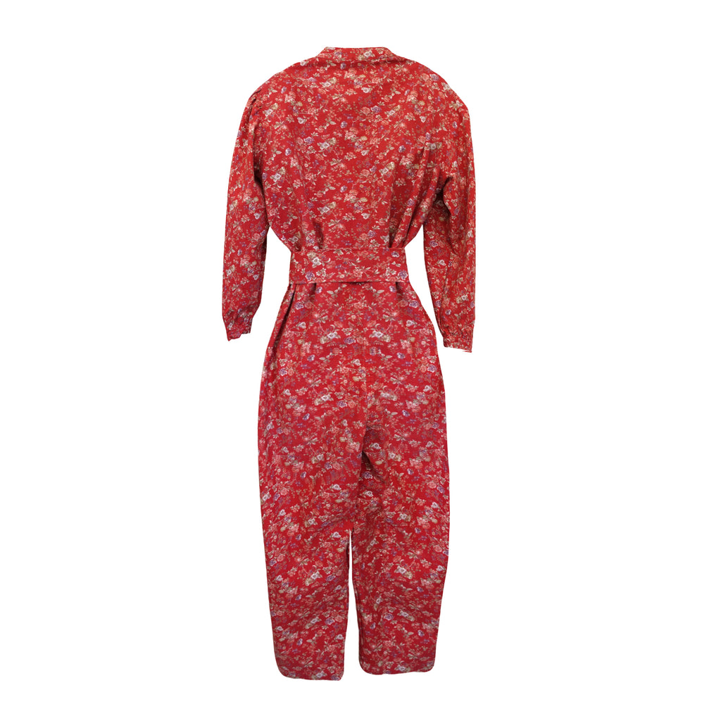 Selma Puff Sleeve Jumpsuit Red