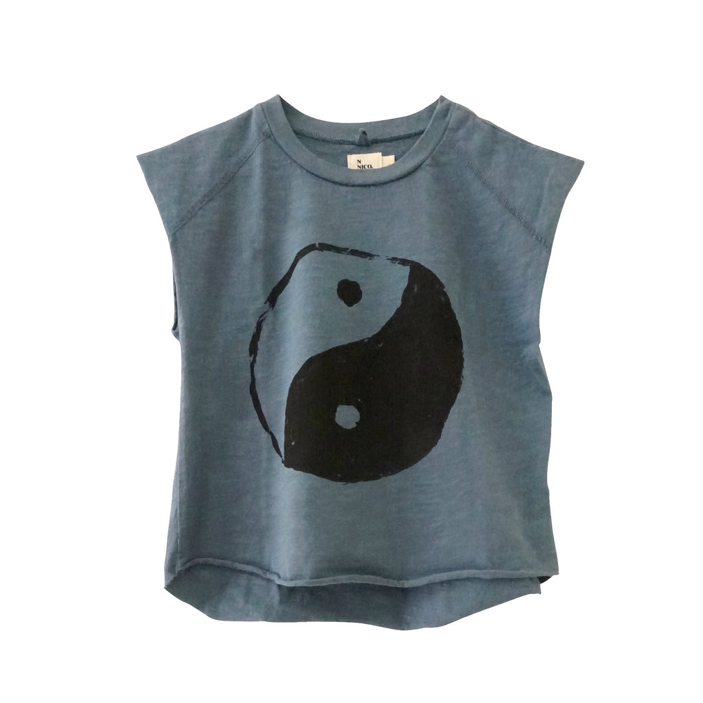 Kid's Graphic Yin Yang Tee Fade Blue