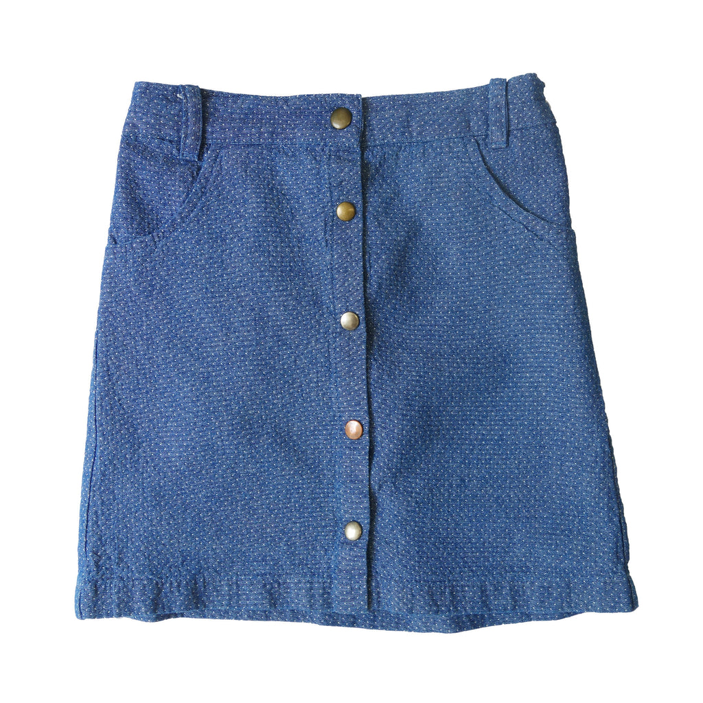 Groovy Denim Snap Front Skirt