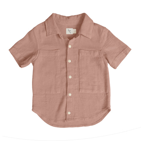 Jaan Solid Button Up Shirt ~ Rust