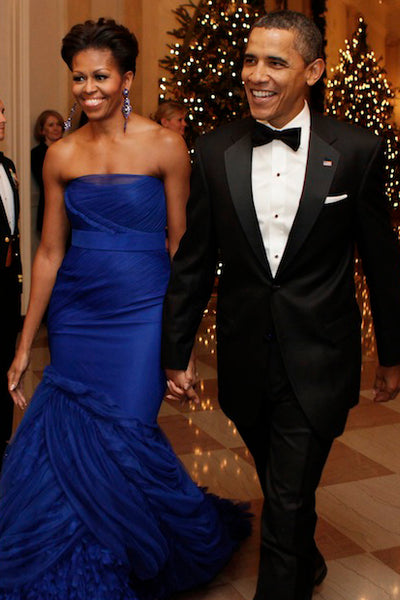 Michelle Obama at the 2011 Kennedy Center Honors in Miguel Ases Blue Quartz earrings