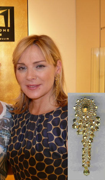 Kim Cattrall wearing Miguel Ases Gold Beaded Cascade Earrings