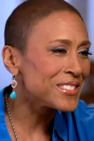 Robin Roberts in Miguel Ases Turquoise and Coral earrings