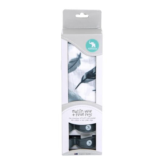 All4Ella - Muslin & 2 Pram Peg Box Set - Feather