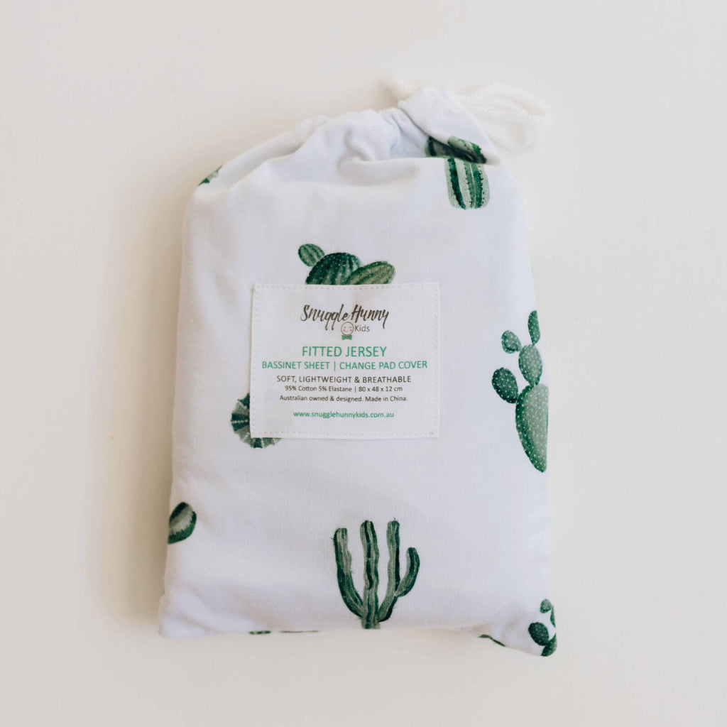 Snuggle Hunny Kids Fitted Bassinet Sheet/ Change Pad Cover - Cactus