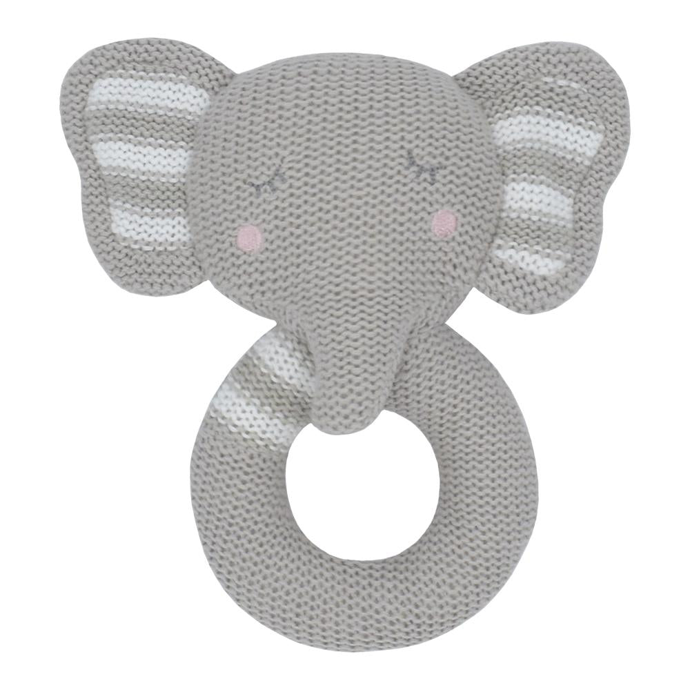 Living Textiles - Eli The Elephant Knitted Rattle