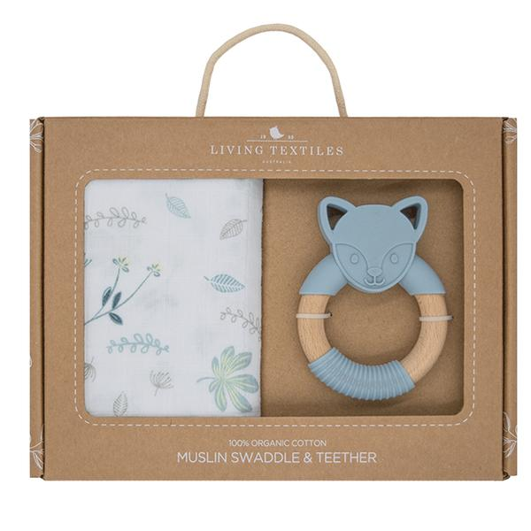 Living Textiles - ORGANIC MUSLIN SWADDLE & TEETHER GIFT SET - BANANA LEAF/TEAL