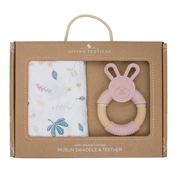 Living Textiles - ORGANIC MUSLIN SWADDLE & TEETHER GIFT SET - BOTANICAL/BLUSH