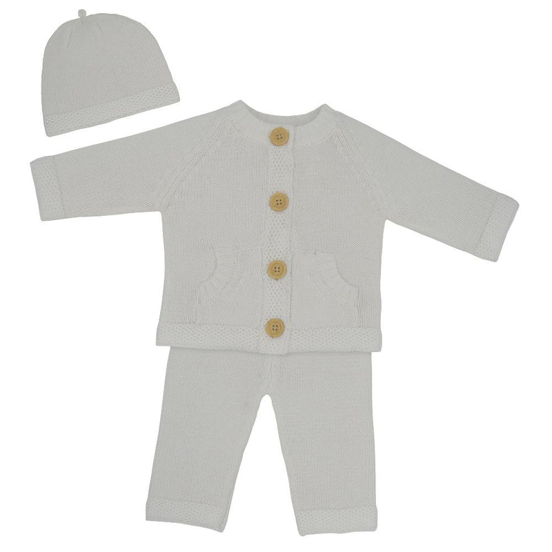 Living Textiles - 3pc Knit Cardigan, Pant & Beanie Set - Ivory