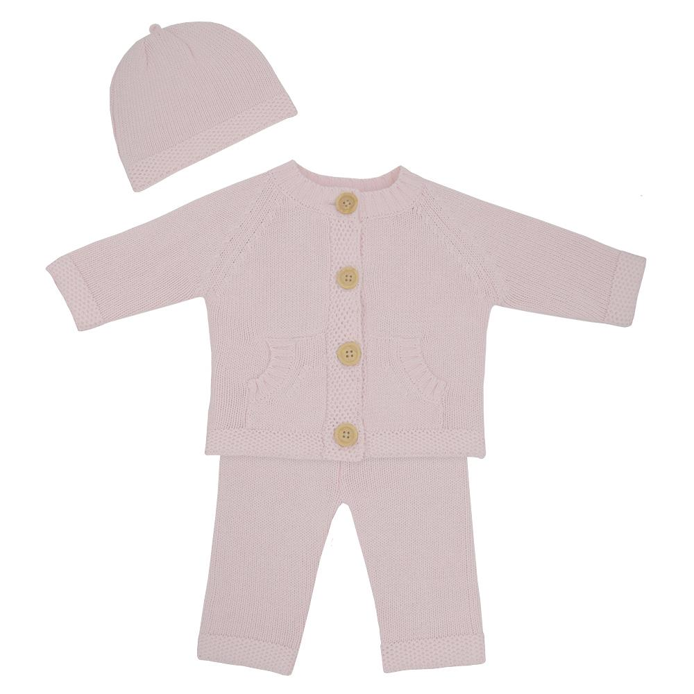 Living Textiles - 3pc Knit Cardigan, Pant & Beanie Set - Blush Pink
