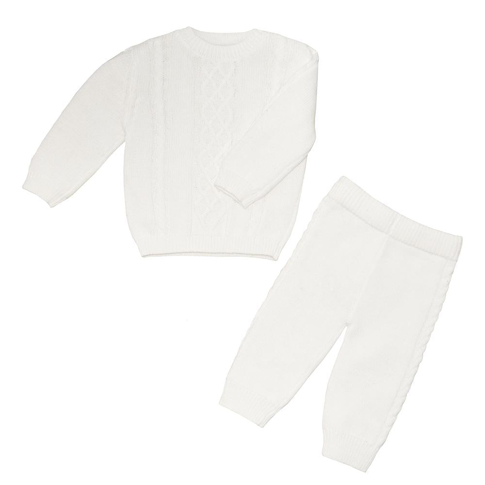 Living Textiles - 2pc Cable Knit Sweater & Pant Set - Ivory