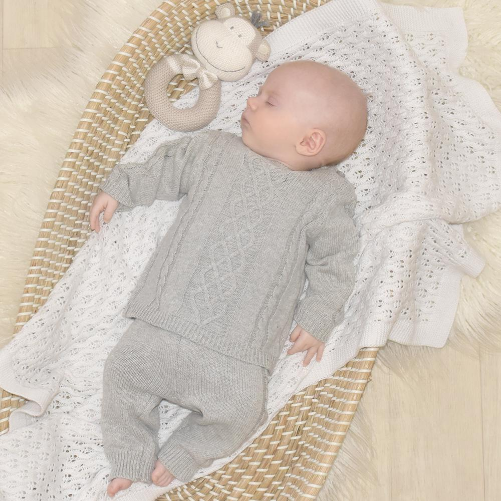 Living Textiles - 2pc Cable Knit Sweater & Pant Set - Grey Marle