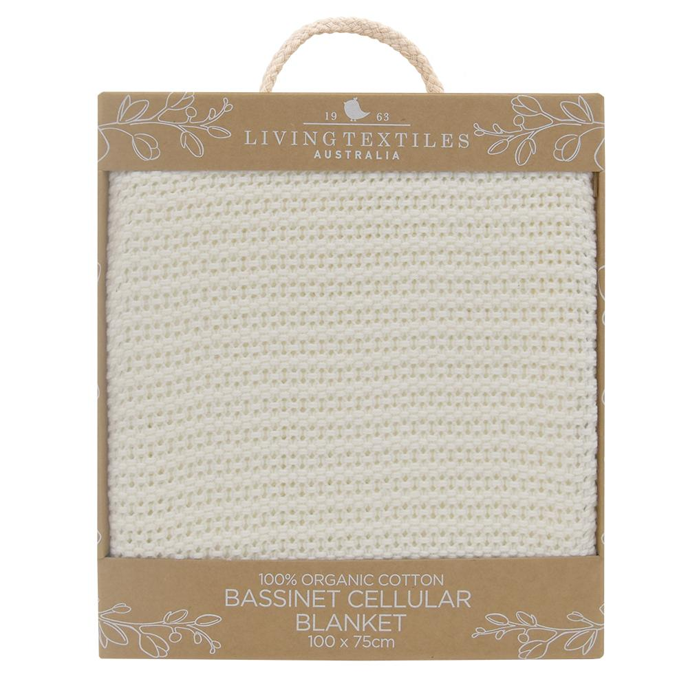 Living Textiles - ORGANIC COT CELLULAR BLANKET - White