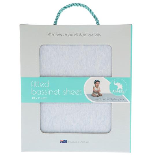 All4Ella - Bassinet Sheet - Marle Blue