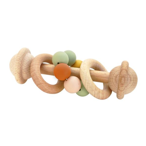 Eco-Friendly Rattle | Organic Beechwood Silicone Toy - multi