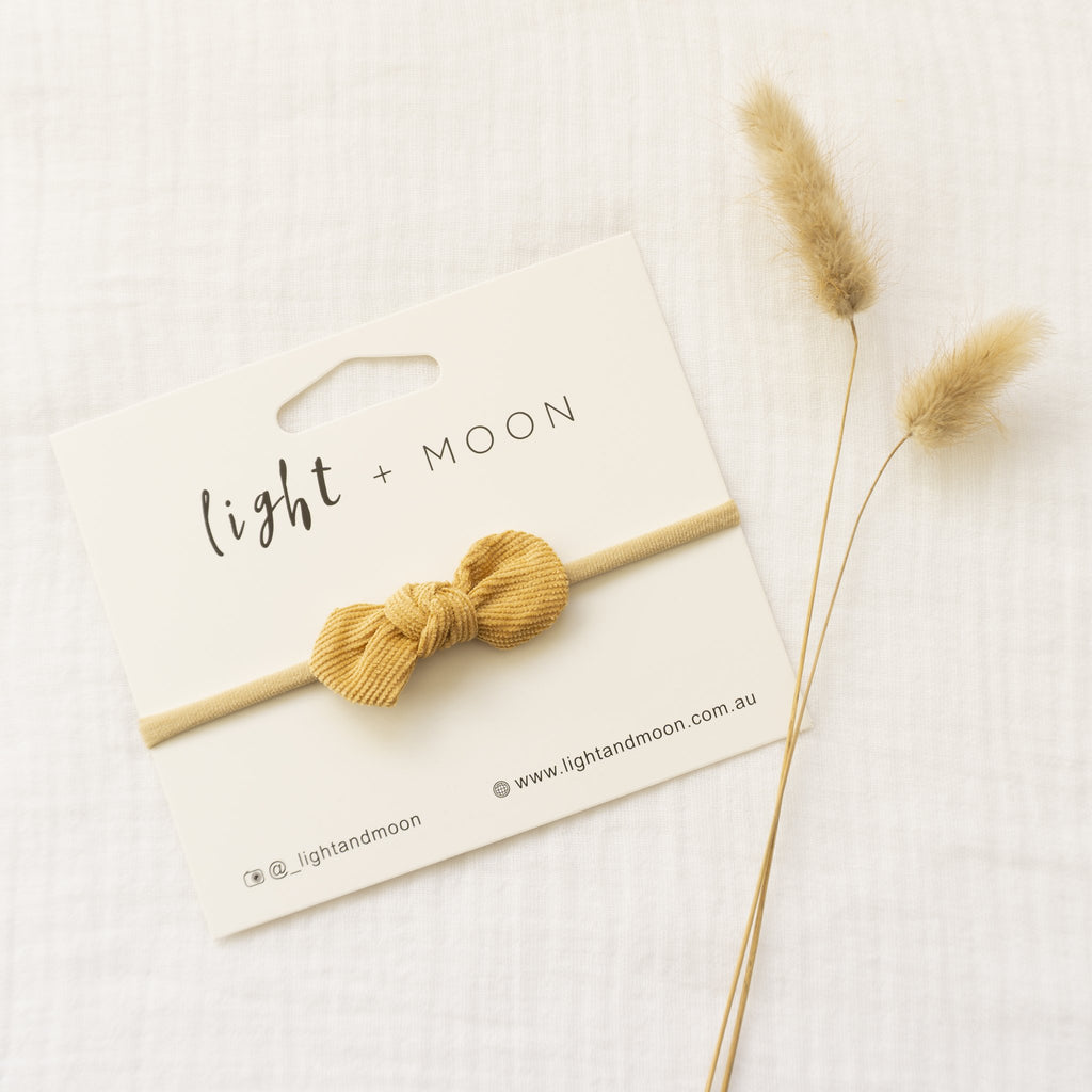 Light + Moon Mini Corduroy Bow Headband - Mustard