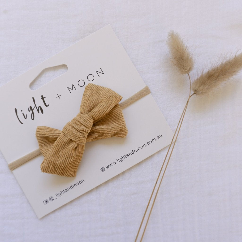 Light + Moon Luxe Corduroy Bow Headband - Mustard