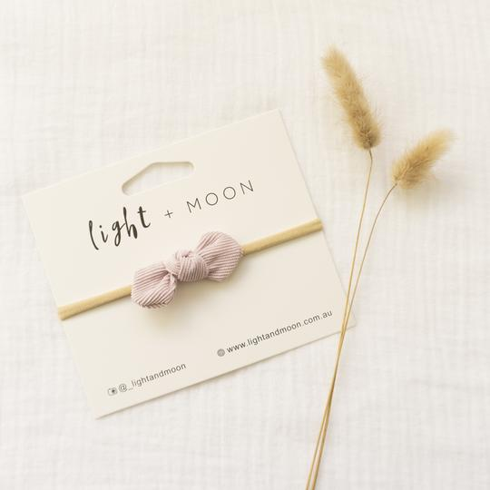 Light + Moon Mini Corduroy Bow Headband - Lilac