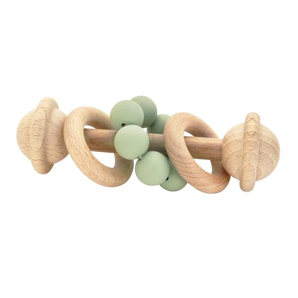 Eco-Friendly Rattle | Organic Beechwood Silicone Toy - sage