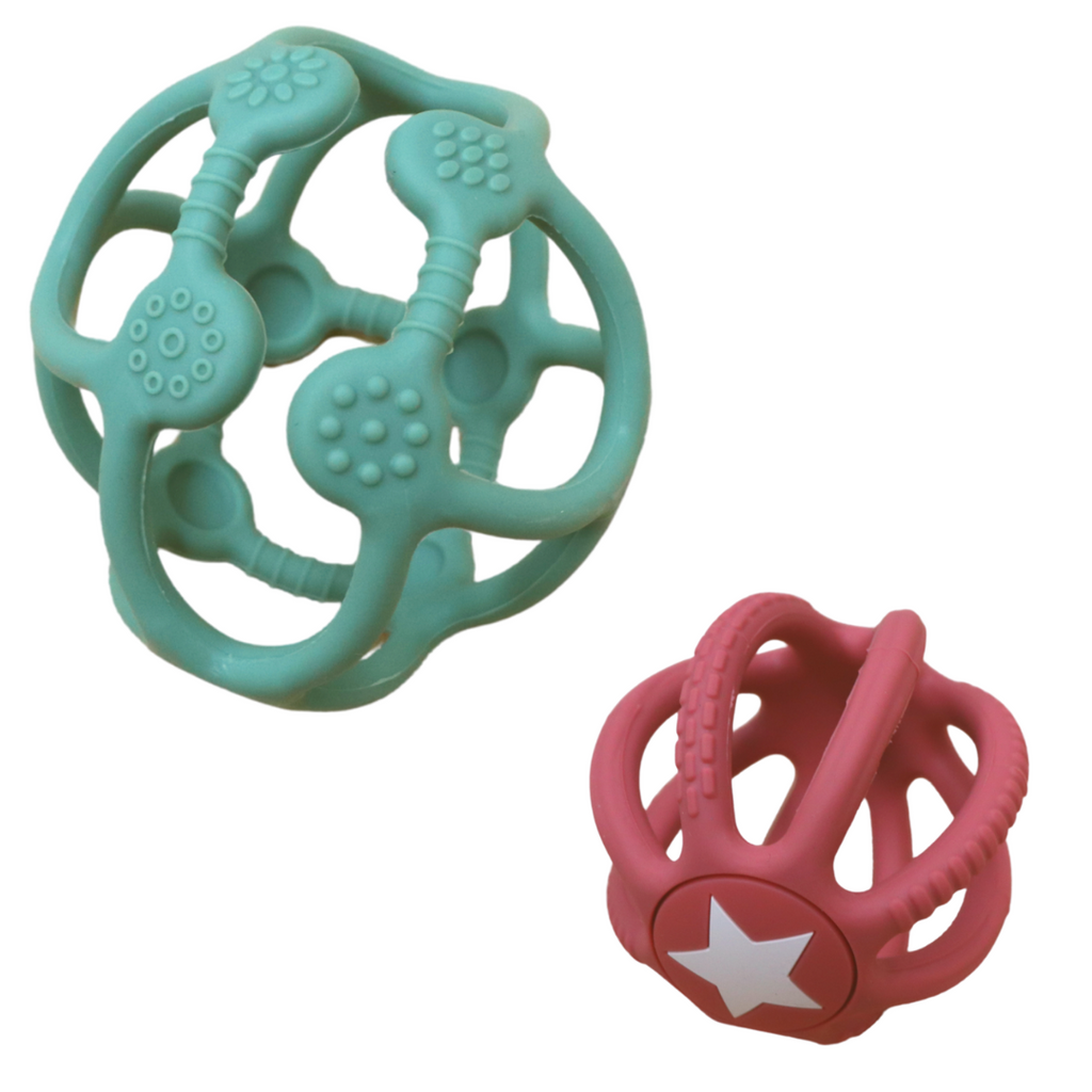 Jellystone Designs 2 Pack Sensory Ball & Fidget Ball -Sage & Dusty Pink
