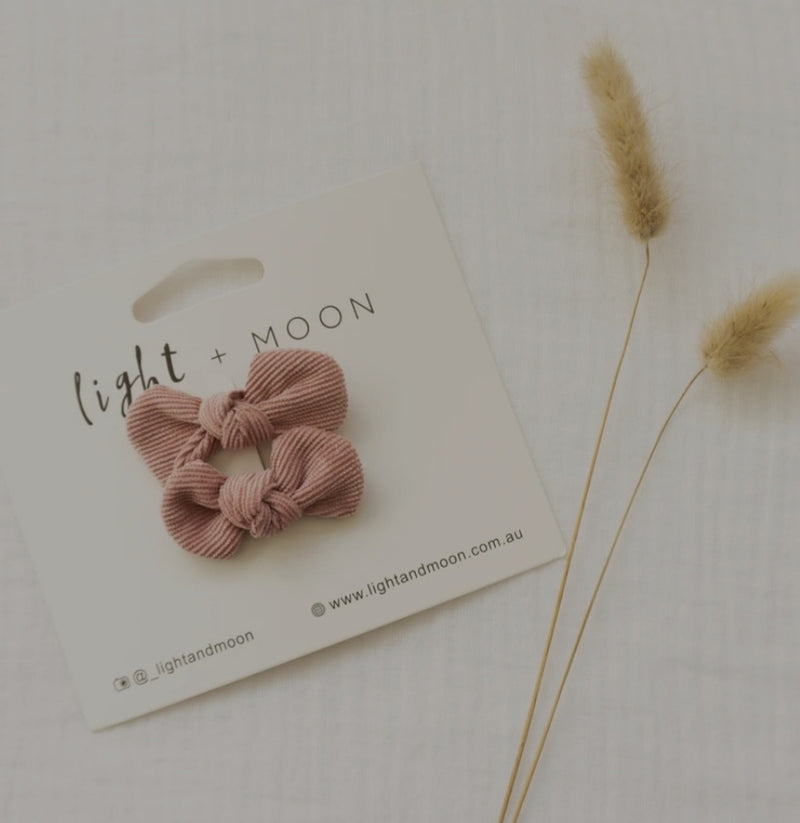 Light + Moon Mini Corduroy Bow Clips  -  Dusty Rose