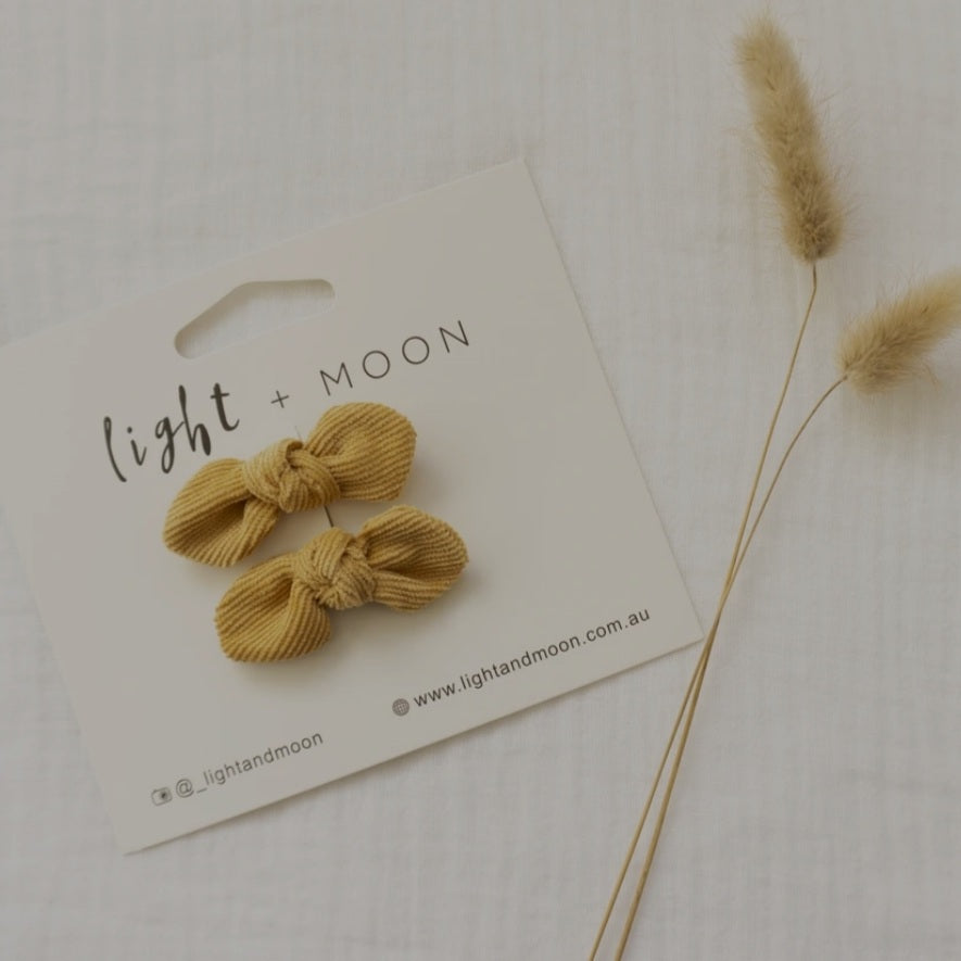 Light + Moon Mini Corduroy Bow Clips -  Mustard