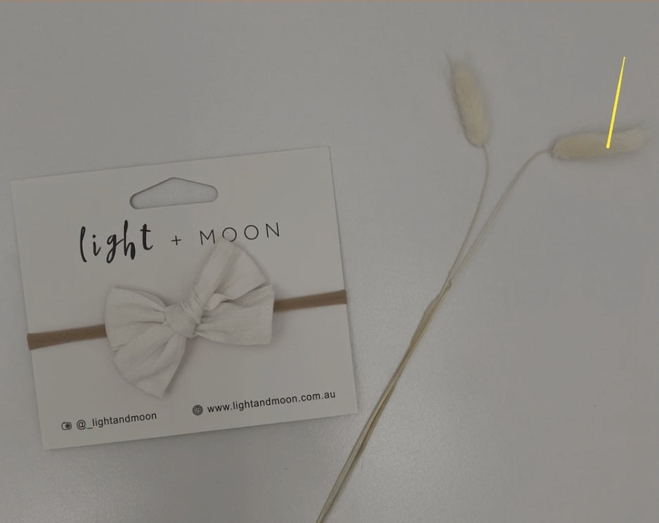 Light + Moon - White Embroidered Bow Headband