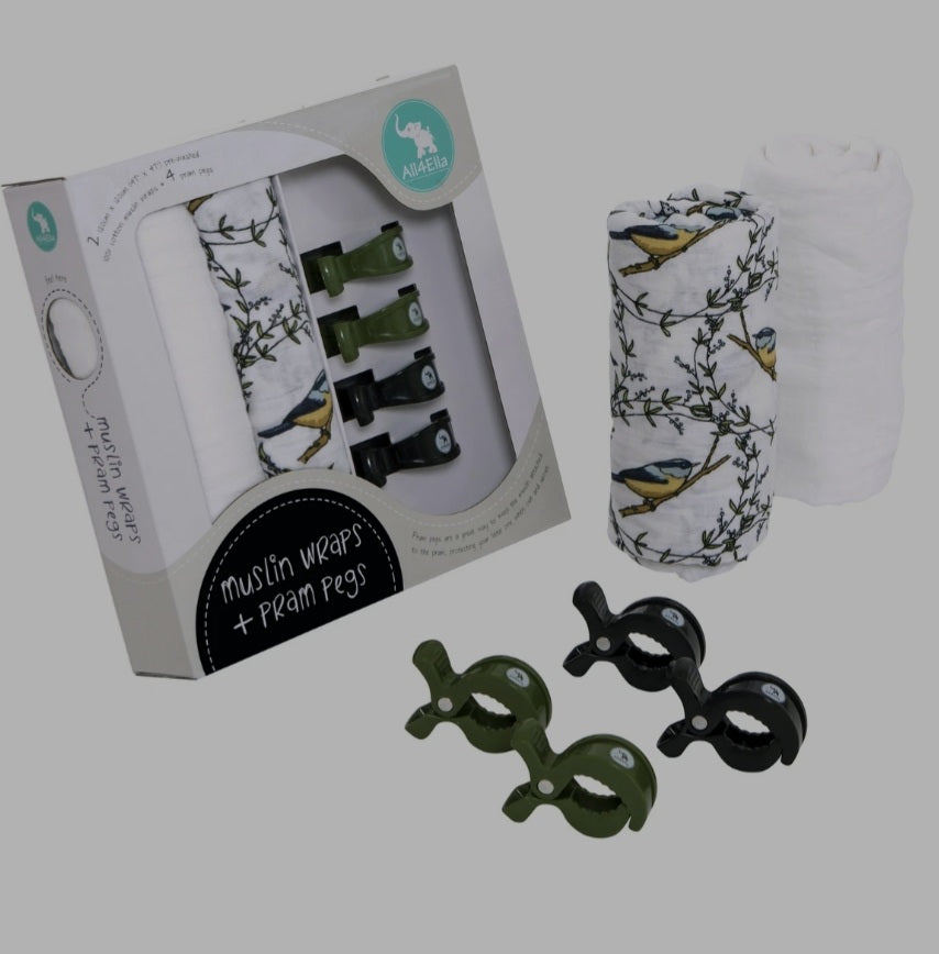 All4Ella - 2 Pack Wraps & 4 Pegs - Bird